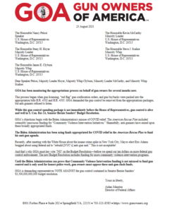 GOA S. Con. Res 14 Budget Resolution Opposition Letter to House Leadership
