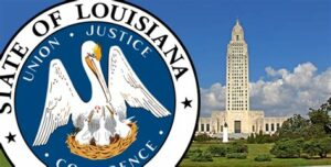Louisiana state seal and Capital building