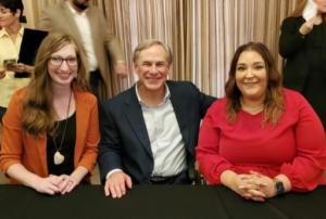 GOA's Rachel Malone and Felisha Bull with Texas Governor Greg Abbott