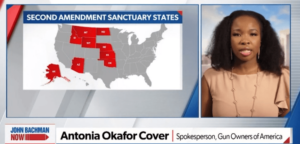 Antonia Okafor speaking on TV about recently-added sanctuary states