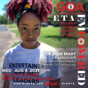 Empowered 2A meeting with Rhonda Mary on Wednesday, August 4, 2021. RSVP to receive a Zoom link.